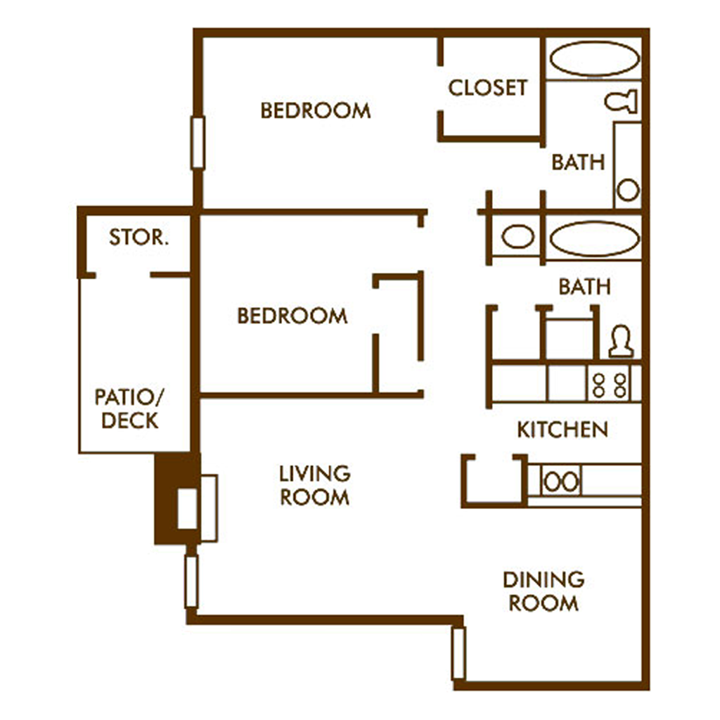 Equal Spaced 2 Bed and Bath