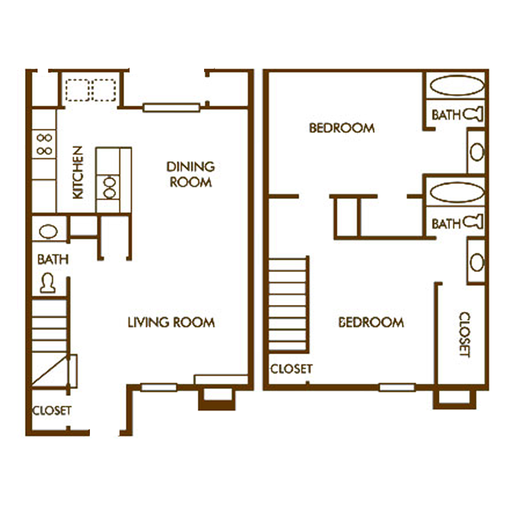 Large 2 Story 2 Bed and 3 Bath